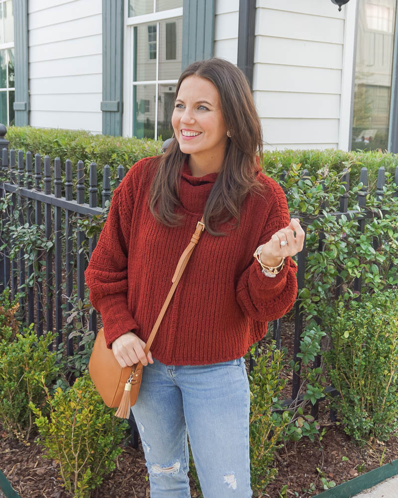 winter style | dark red high neck sweater | tan crossbody purse | Petite Fashion Blogger Lady in Violet