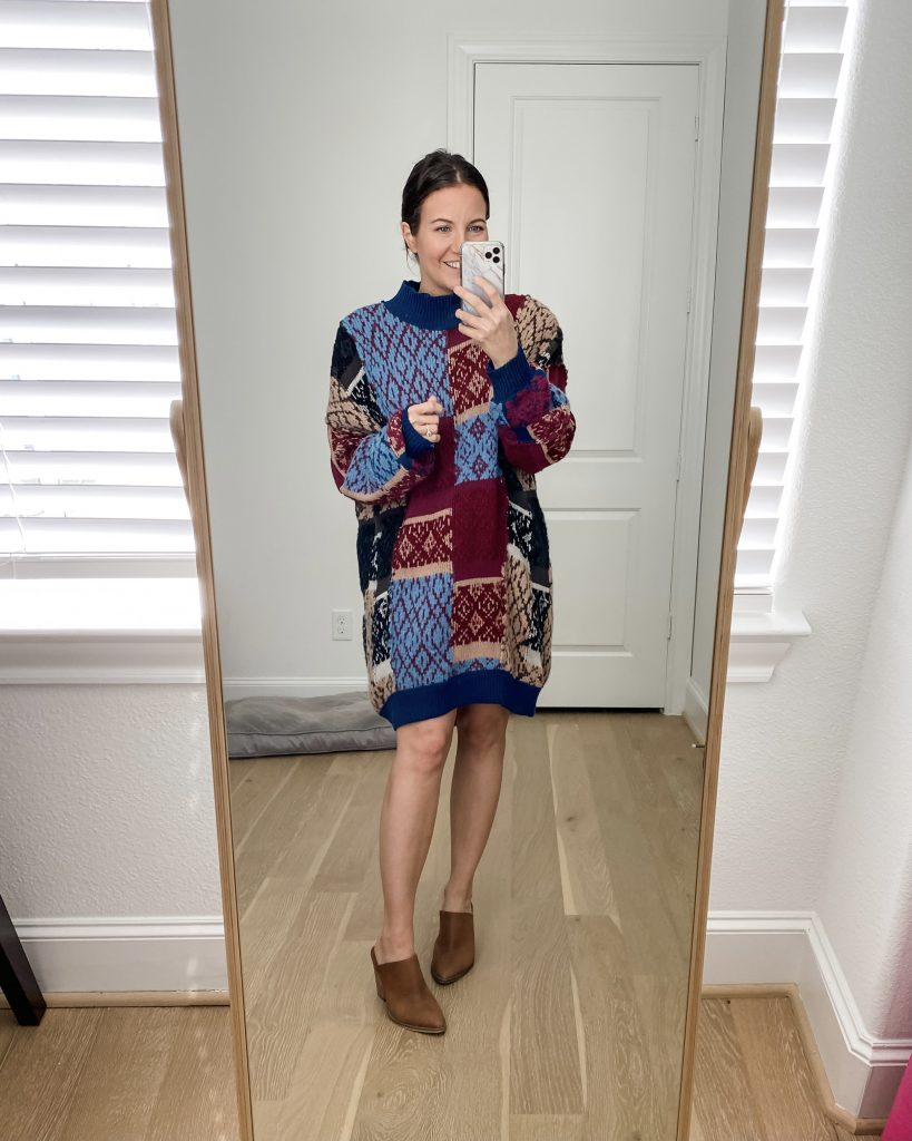 comfy work from home outift | patchwork sweater | brown mules | Texas Fashion Blog Lady in Violet