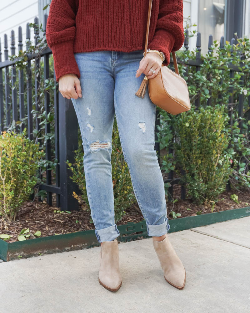 spring fashion | light blue ripped jeans | tan booties | Houston Fashion Blog Lady in Violet