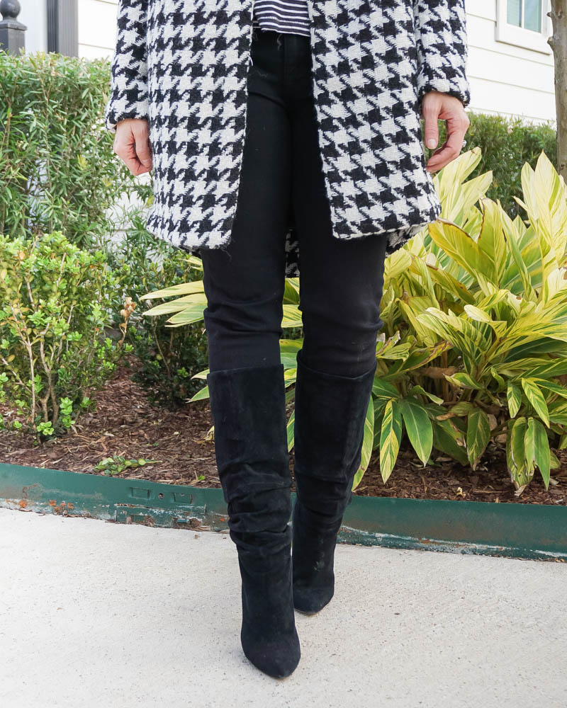 winter outfit | black skinny jeans | suede knee high boots | Houston Fashion Blog Lady in Violet