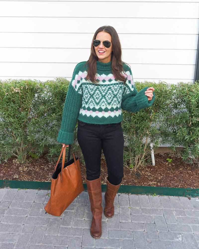 winter outfit | green pink sweater | brown leather boots | Texas Fashion Blog Lady in Violet