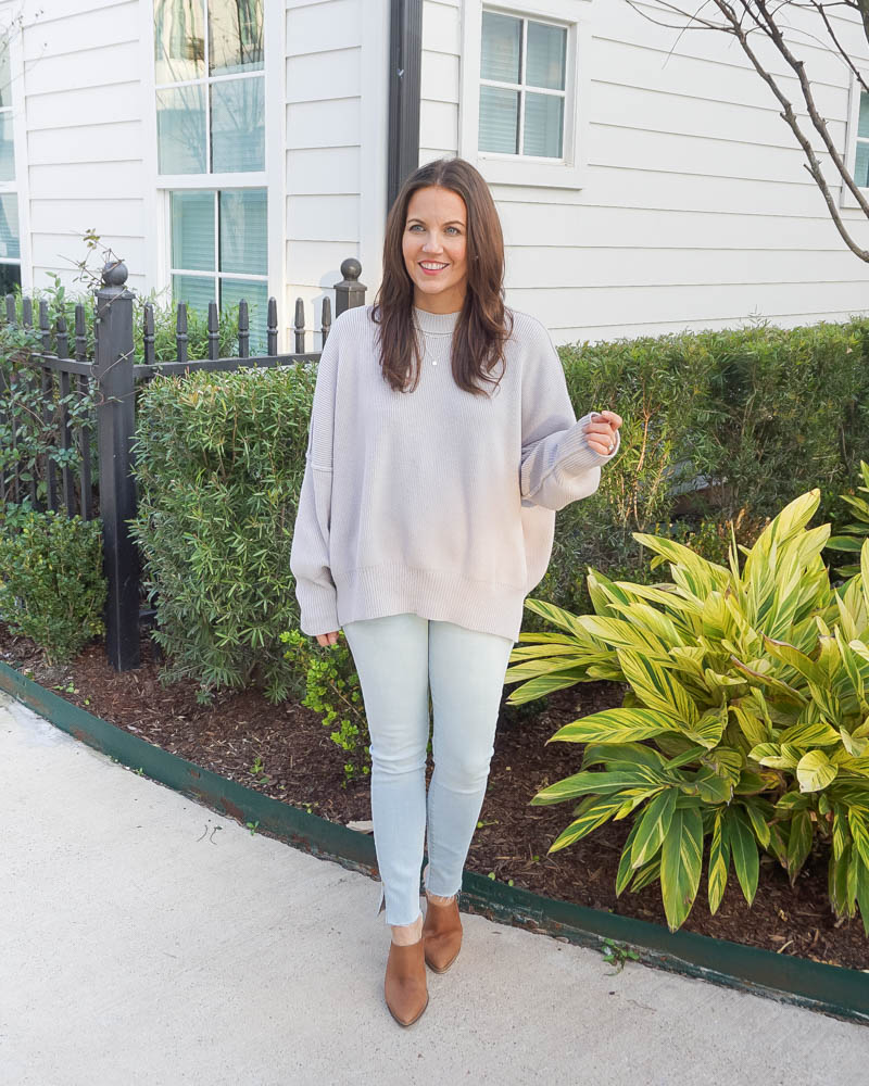 winter outfit | light grey sweater | light wash skinny jeans | Texas Fashion Blog Lady in Violet