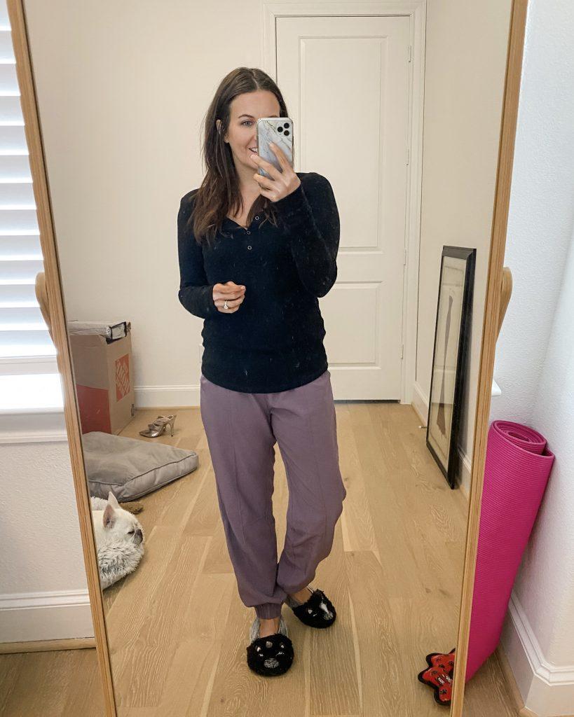 winter loungewear | black thermal henley top | purple jogger pants | Houston Fashion Blog Lady in Violet