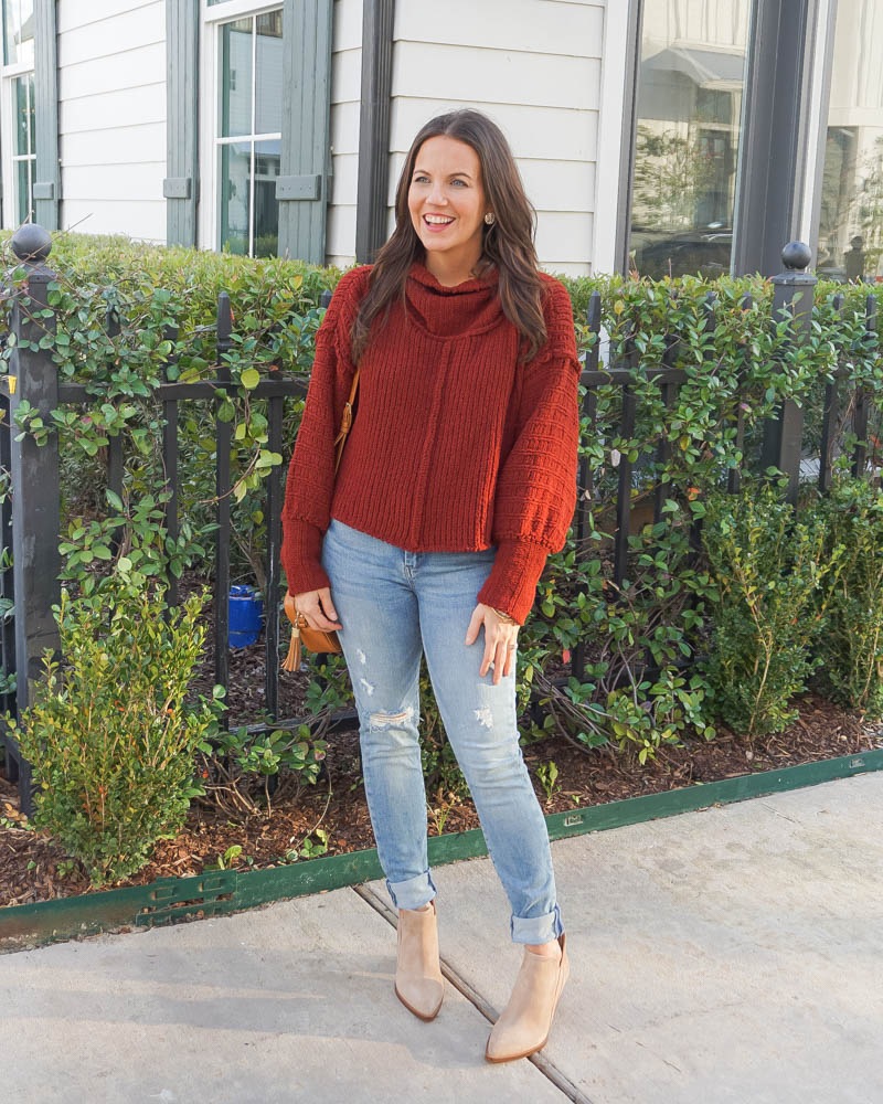 winter outfit | red sweater | casual style | Texas Fashion Blog Lady in Violet
