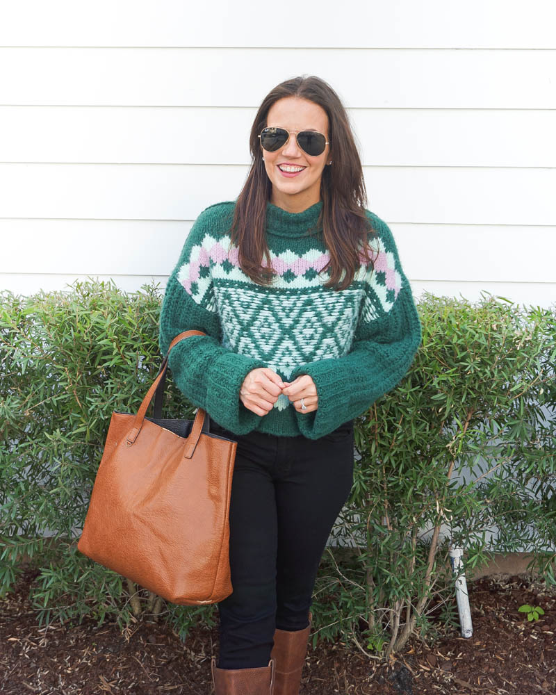 winter outfits | green turtleneck sweater | brown leather tote bag | Women's Fashion Blog Lady in Violet