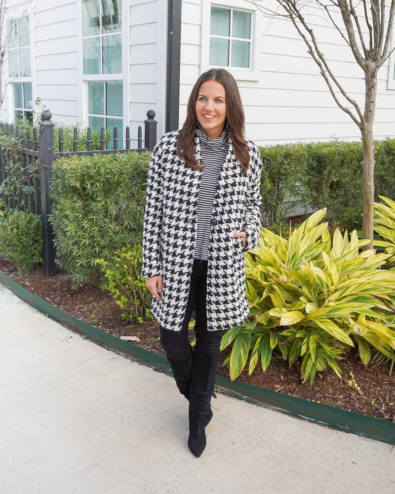 winter outfits | houndstooth pea coat | black jeans | Petite Fashion Blog lady in Violet