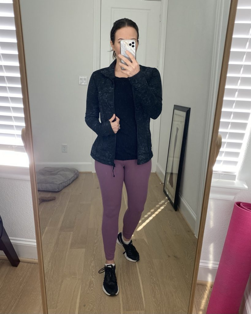 cold weather workout clothes | black jacket | purple leggings | Texas Fashion Blogger Lady in Violet