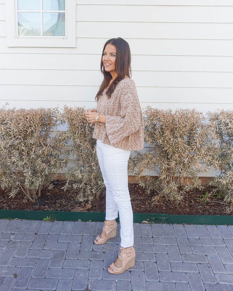spring outfit | light brown short sweater | white skinny jeans | petite fashion blogger Lady in Violet