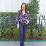 Pink and Navy Ruffled Blouse