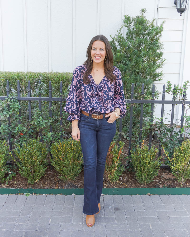 spring outfits | pink and blue blouse | dark wash bootcut jeans | Petite Fashion Blog Lady in Violet