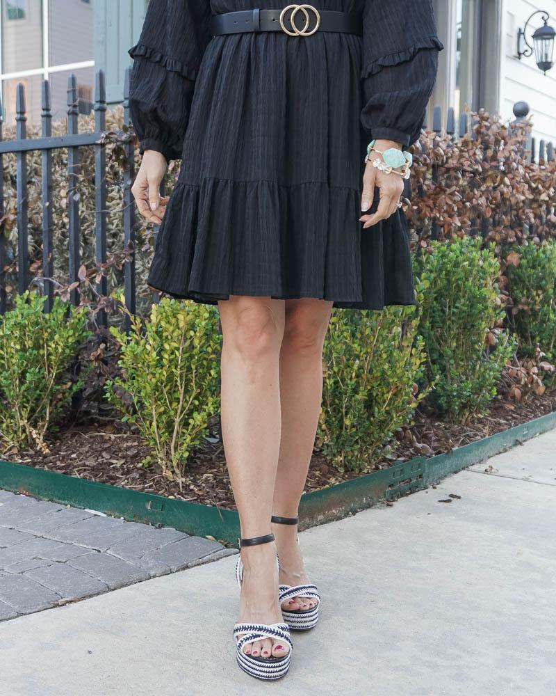 spring fashion | black espadrille wedges | teal stone bangle | Southern Fashion Blog Lady in Violet