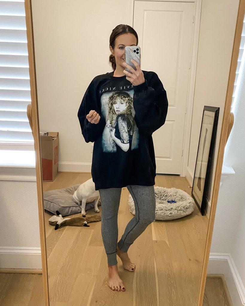 winter loungewear | graphic sweatshirt | gray leggings | Petite Fashion Blogger Lady in Violet