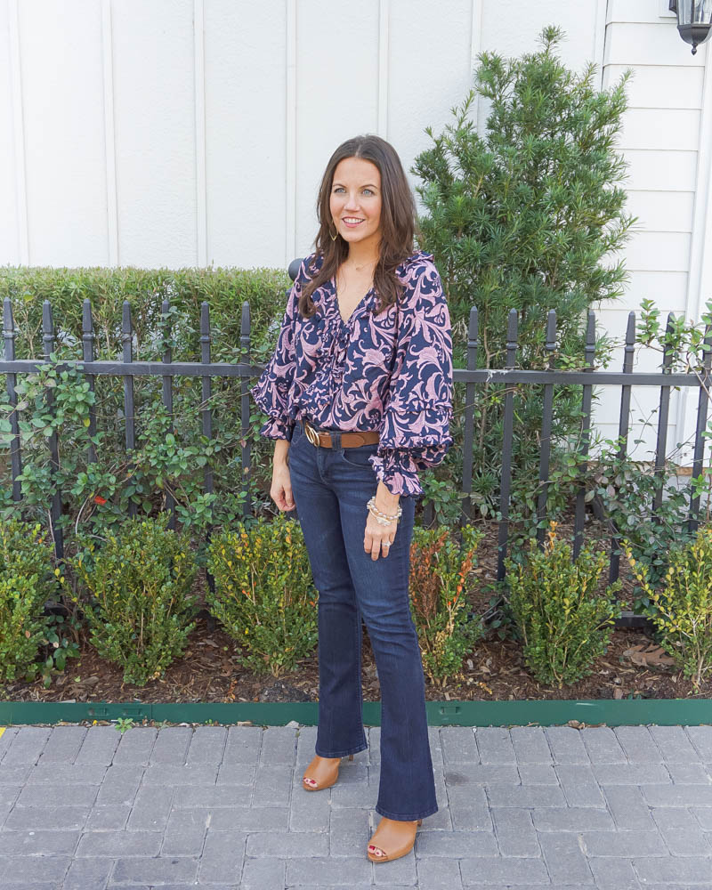 spring outfit | v neck blouse | dark blue flared jeans | Petite Fashion Blogger Lady in Violet