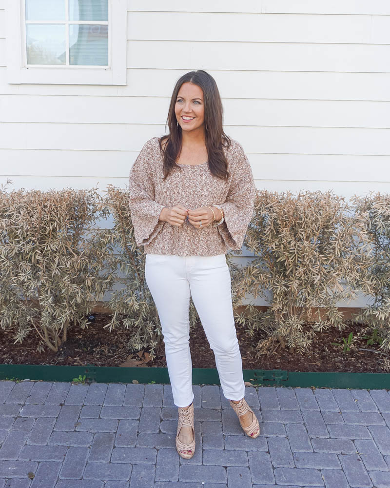 spring outfits | boxy sweater | white jeans | Petite Fashion Blog lady in Violet