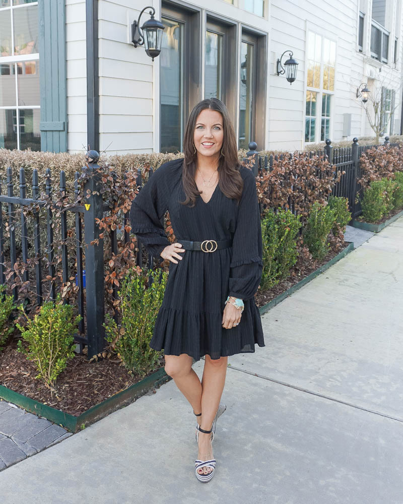 spring outfits | long sleeve black shift dress | black amazon belt | Petite Fashion Blog Lady in Violet
