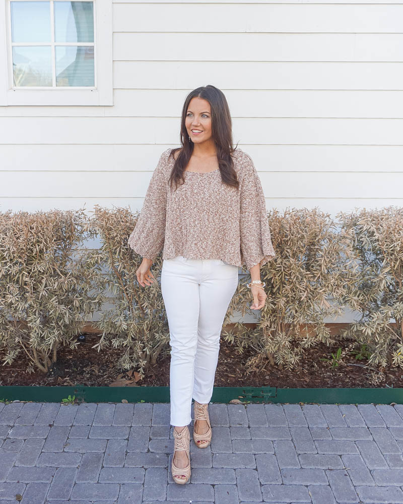 casual outfits | light tan sweater | white skinny jeans | Texas Fashion Blog Lady in Violet