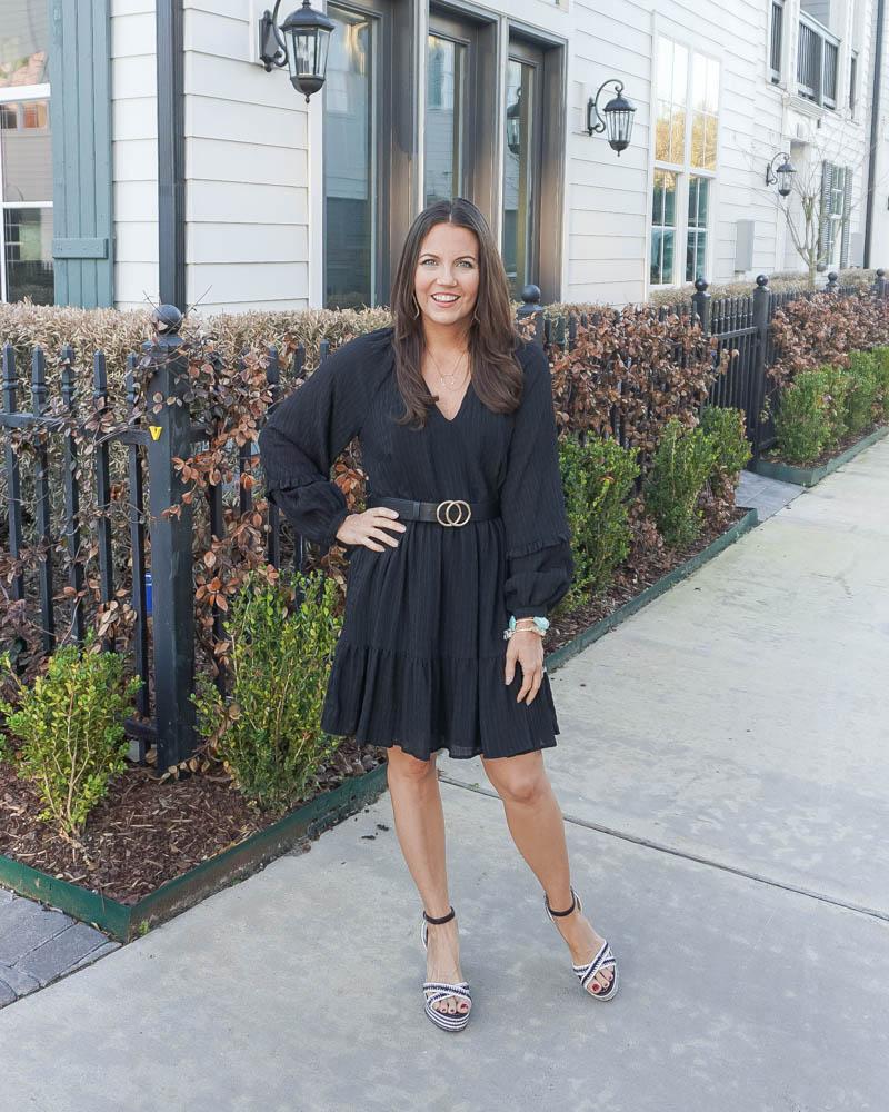 spring date night outfit | black v neck dress | black espadrille wedge sandals | Houston Fashion Blogger Lady in Violet