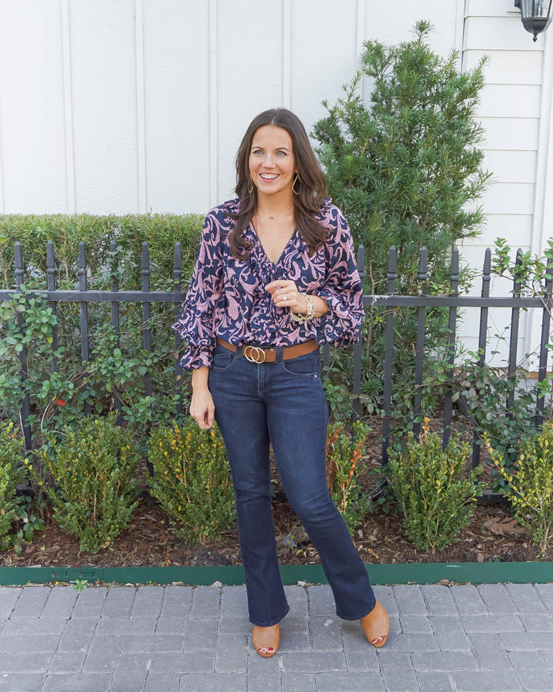 spring fashion | pink and navy long sleeve blouse | flared jeans | Houston Fashion Blogger Lady in Violet