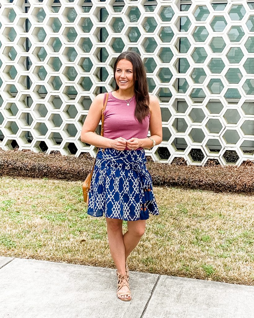 spring style | pink tank top | blue mini skirt | Petite Fashion Blogger Lady in Violet