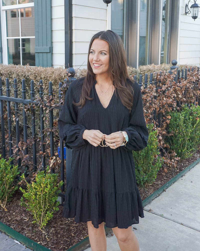 workwear outfit | long sleeve black dress | teal stone bangle bracelets | Texas Fashion Blogger Lady in Violet