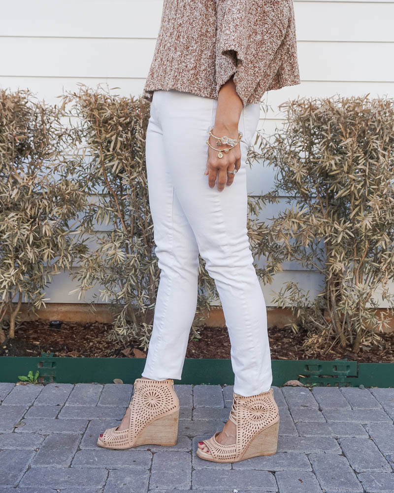 casual spring outfit | white skinny jeans | neutral wedge sandals | American Fashion Blog Lady in Violet