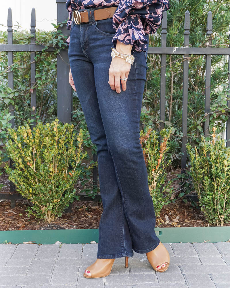 spring outfit | dark blue bootcut jeans for short women | brown peep toe booties | Petite fashion blog Lady in Violet