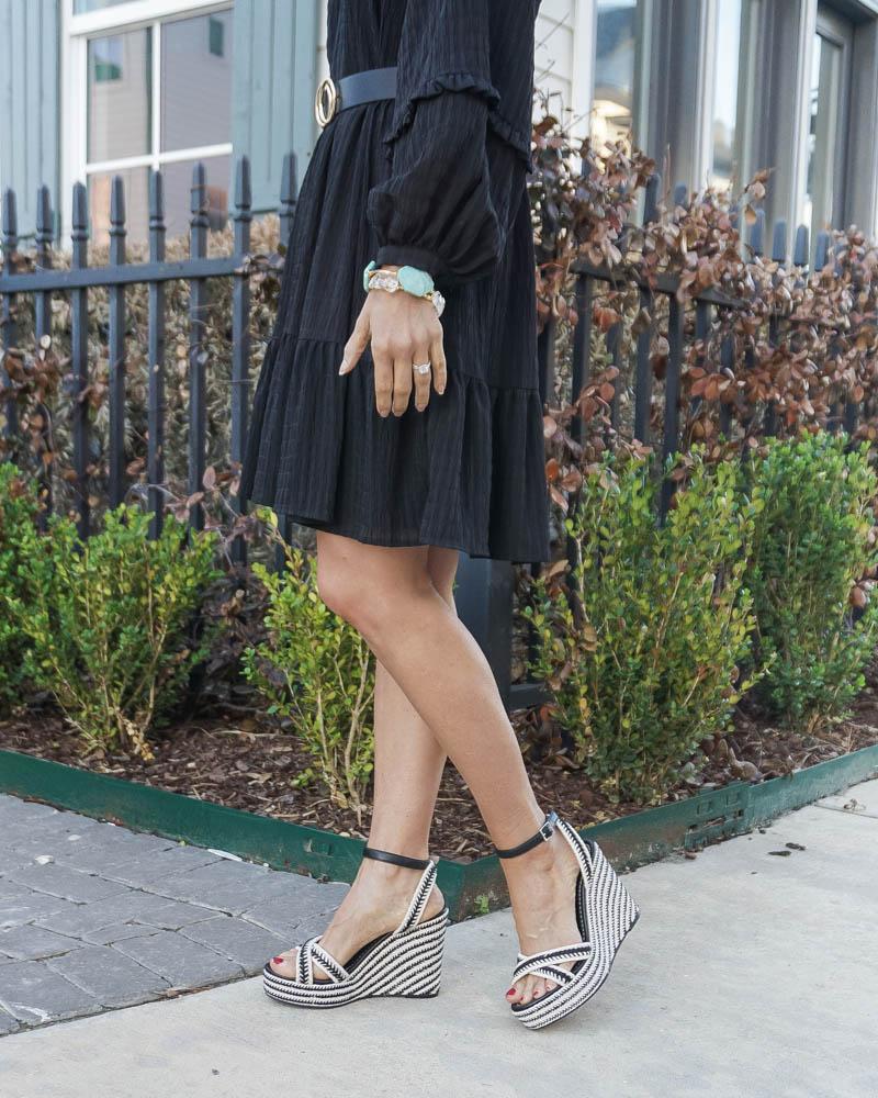 summer outfit | black dress | black striped espadrille wedges | Petite Fashion Blogger Lady in Violet