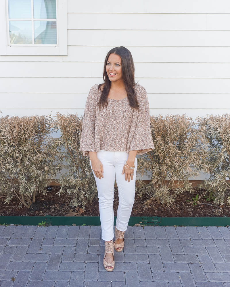 spring outfit | light brown cropped sweater | white jeans | American Fashion Blogger Lady in Violet