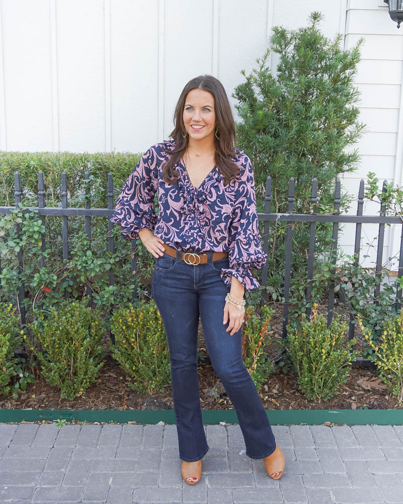 spring outfit | navy and pink long sleeve blouse | dark blue bootcut denim pants | American Fashion Blog Lady in Violet