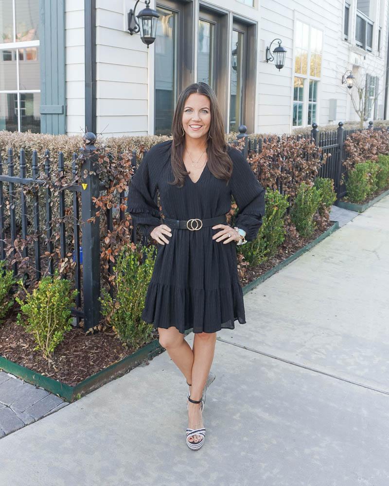 spring style | anthropologie black shift dress | black gold buckle belt | American Fashion Blog Lady in Violet