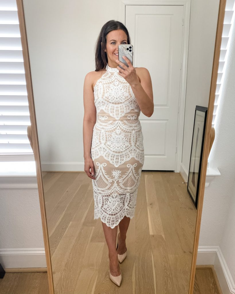 wedding rehearsal dinner dress | white lace halter top dress | bride to be fashion | Petite Fashion Blog Lady in Violet