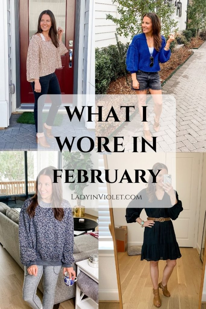 spring outfits | winter loungewear | petite fashion blogger lady in violet