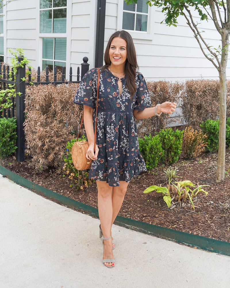 spring outfit   black floral print dress   straw circle purse   Petite Fashion Blog Lady in Violet