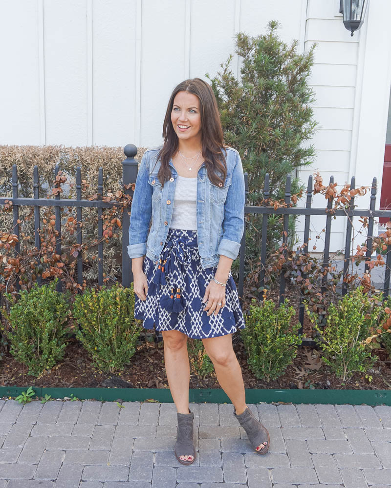 spring outfit | blue jean jacket | navy mini skirt | Petite Fashion Blog Lady in Violet