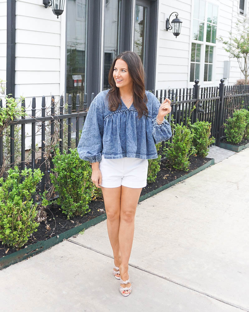 spring outfit | long sleeve denim top | white shorts | Texas Fashion Blog Lady in Violet