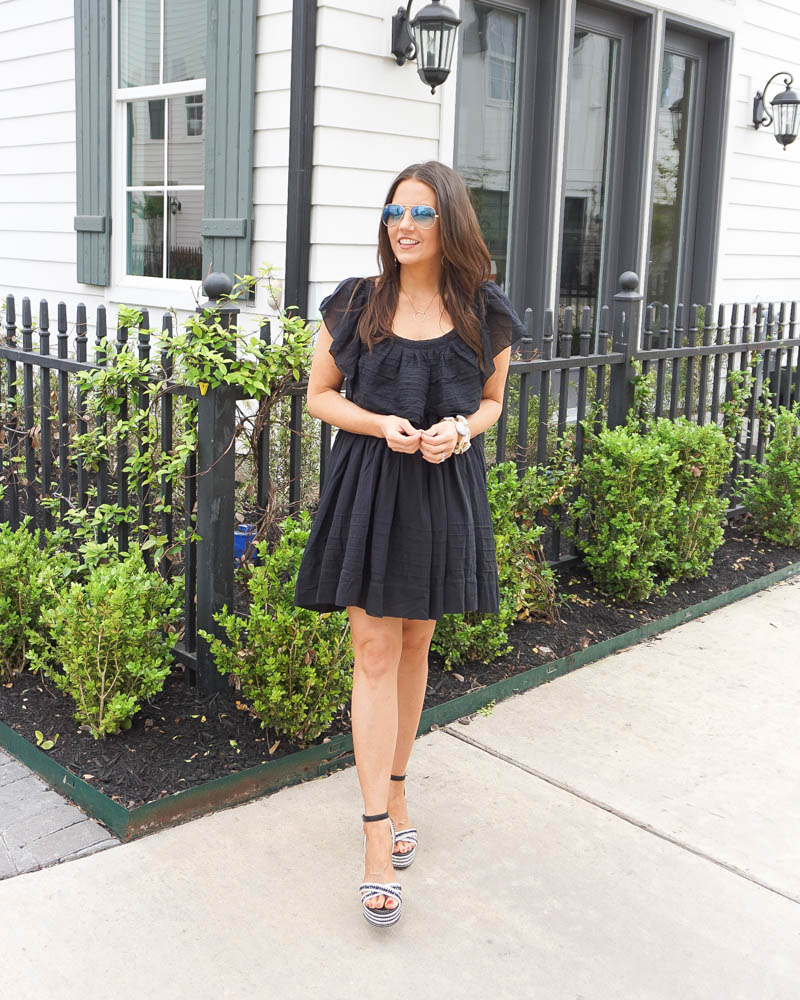 summer outfit | black mini dress | black espadrille sandals | Petite Fashion Blog Lady in Violet