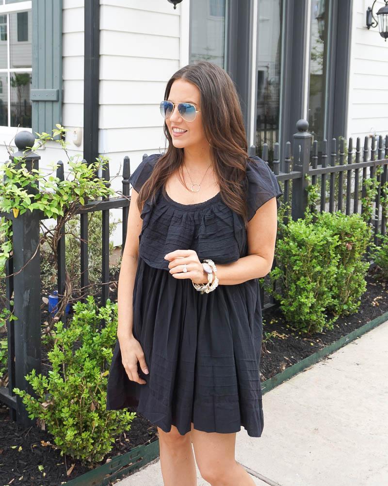 summer outfit | black short dress | big stone bangles | Texas Fashion Blog Lady in Violet