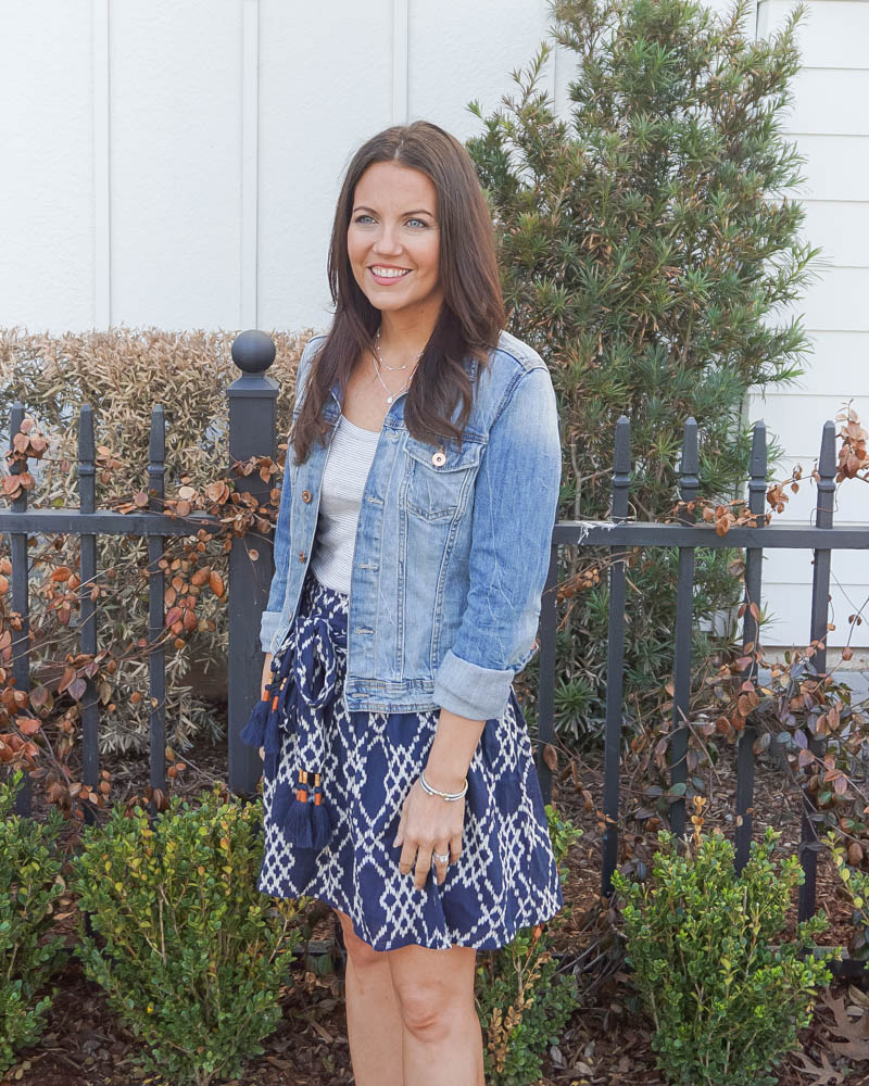 summer outfit | blue denim jacket | short navy skirt | Houston Fashion Blog Lady in Violet