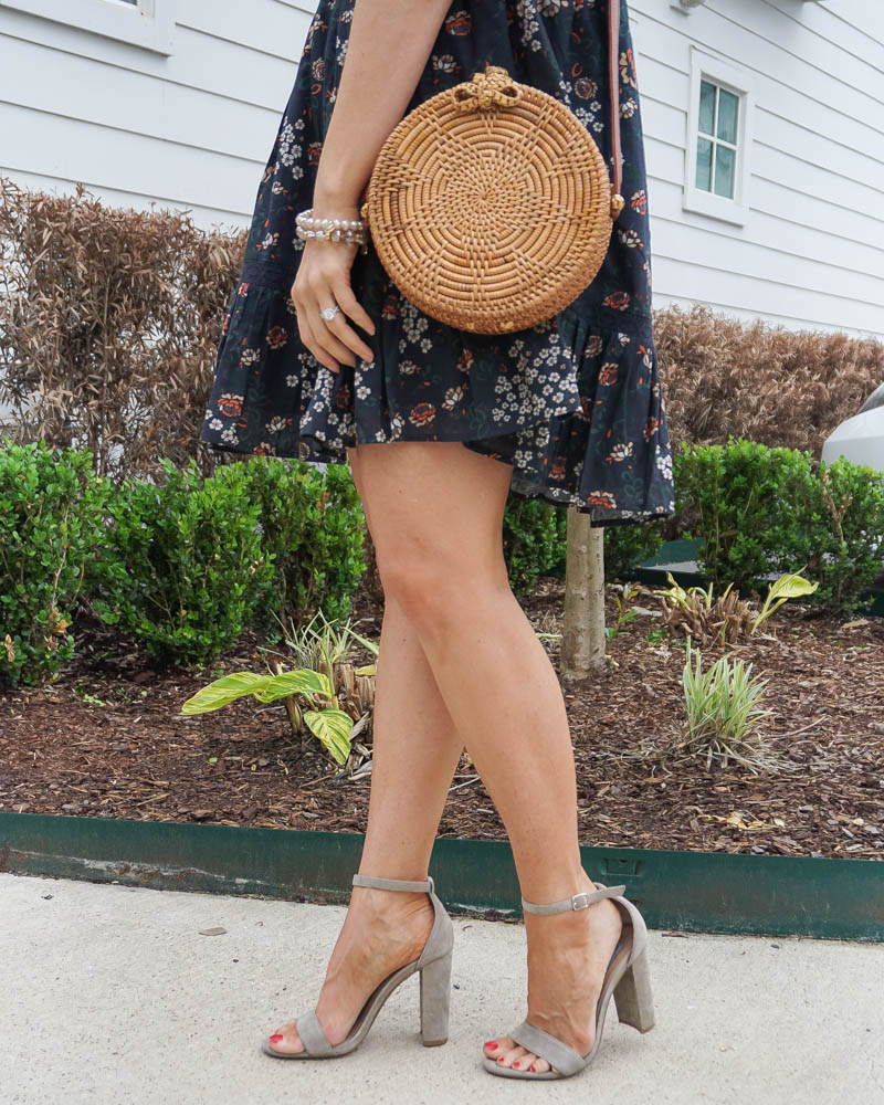 spring outfit | taupe block heel sandals | straw circle purse | Houston Fashion Blog Lady in Violet