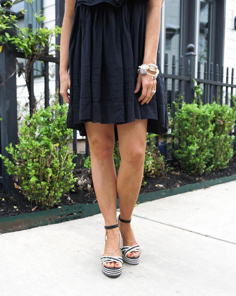 spring outfit | black mini dress | espadrille wedge sandals | Popular Fashion Blog Lady in Violet