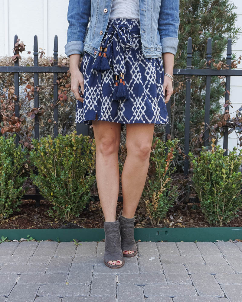 spring outfit | dark blue tie waist mini skirt | brown peep toe booties | Texas Fashion Blog Lady in Violet