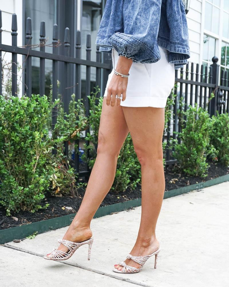 spring outfit | david yurman classic bracelets | floral sandals | Petite Fashion Blog Lady in Violet