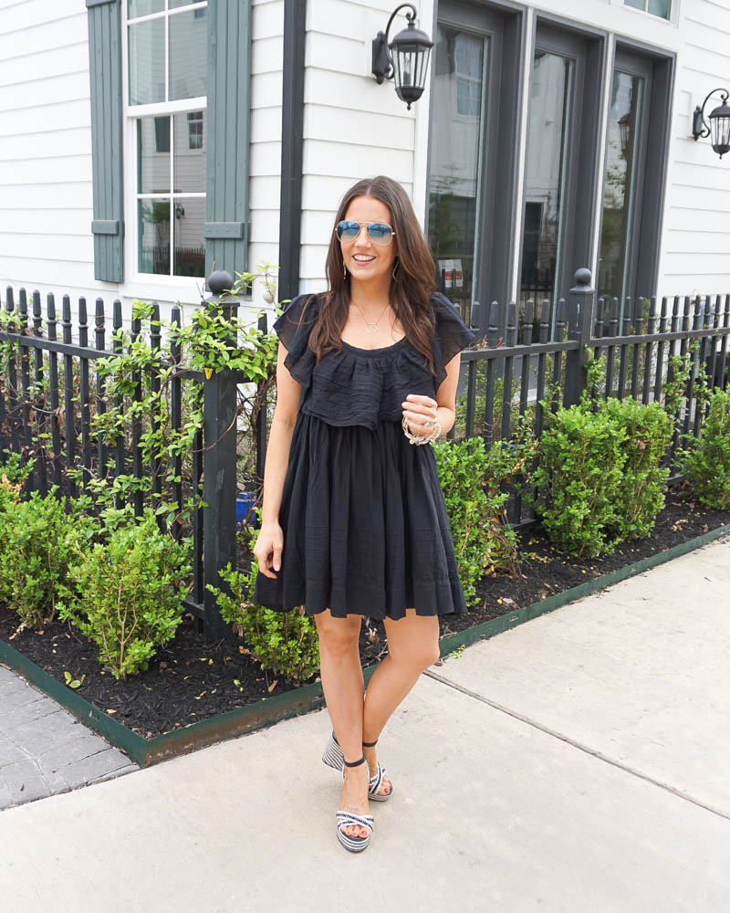 spring outfit | black ruffle dress | blue aviator sunglasses | Houston FAshion Blog Lady in Violet