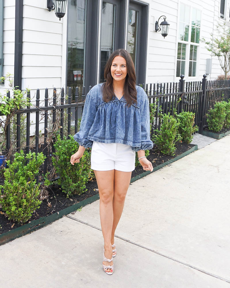 summer outfit | cropped jean top | white mini shorts | Texas Fashion Blogger Lady in Violet