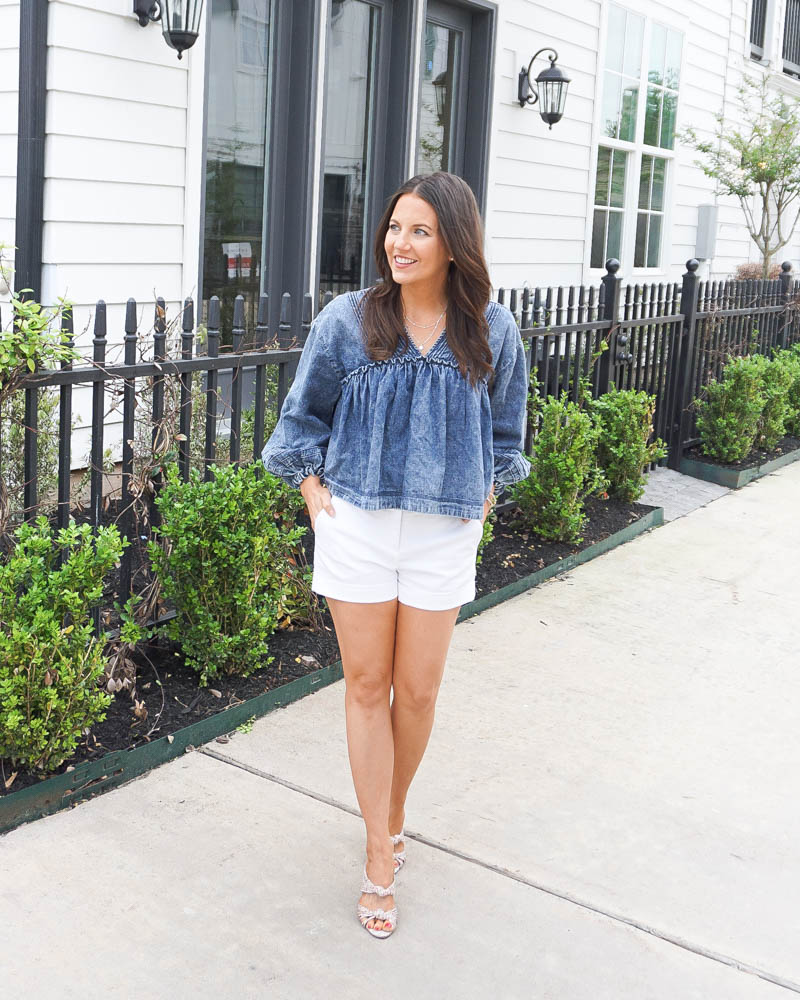 spring casual outfit | long sleeve denim blouse | floral heel sandals | Houston Fashion Blogger Lady in Violet