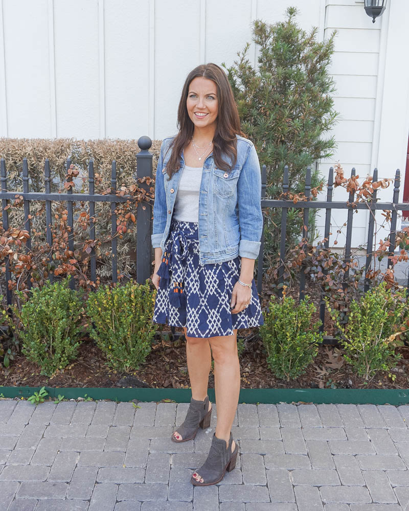 spring fashion | jean jacket | casual mini skirt | Houston Fashion Blogger Lady in Violet