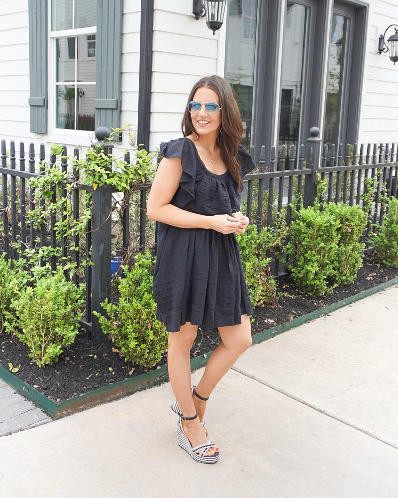 summer fashion   black mini dress   striped espadrille wedges   Petite Fashion Blogger Lady in Violet
