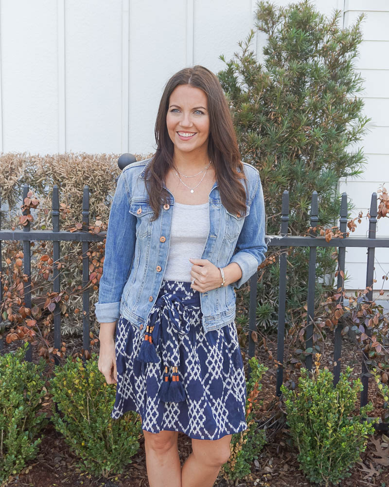 casual spring outfit | blue jean jacket | tie waist mini skirt | Texas Fashion Blogger Lady in Violet