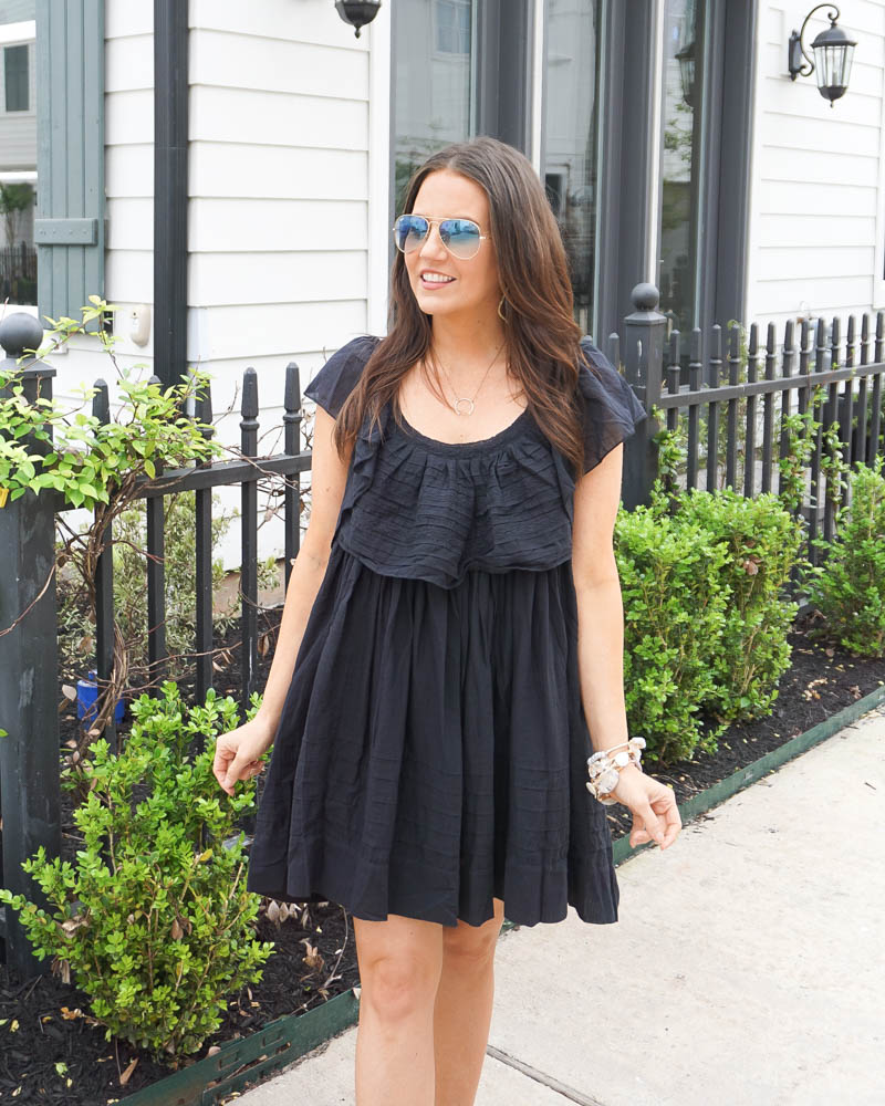 spring fashion | black mini dress | big stone bracelet | Texas Based Fashion Blogger Lady in Violet
