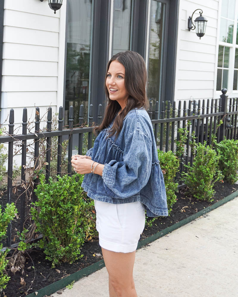 summer fashion | cropped denim top | white shorts | Petite Fashion Blogger Lady in Violet